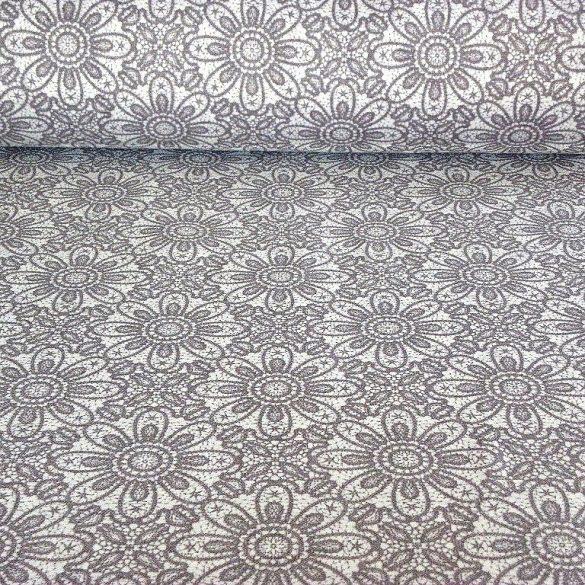 HALASI, csipkemintás lakástextil, dekorvászon, szürke. 140 cm és 280 cm széles