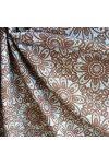 HALAS, csipkemintás lakástextil, dekorvászon, taupe, barna. 140 cm és 280 cm széles