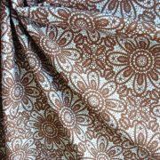 HALAS, csipkemintás lakástextil, dekorvászon, taupe, barna