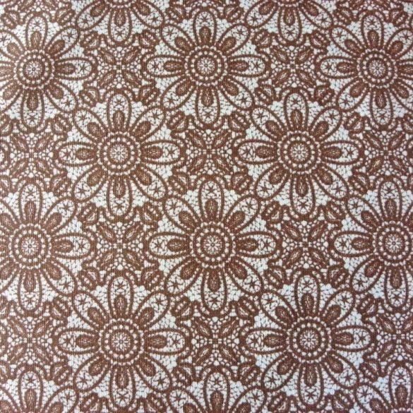 HALASI, csipkemintás lakástextil, dekorvászon, taupe, barna