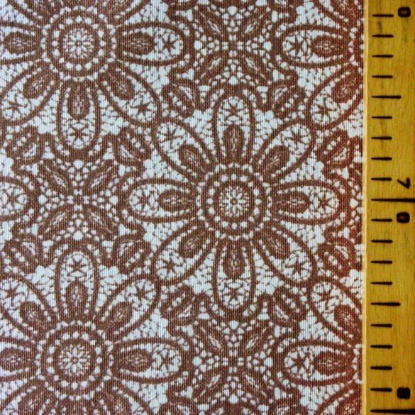 HALASI, csipkemintás lakástextil, dekorvászon, taupe, barna. 140 cm és 280 cm széles