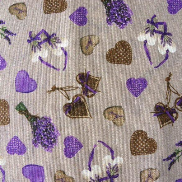 CORET, lila levendula, szív mintás, spanyol lakástextil, dekorvászon, 280 és 140 cm széles
