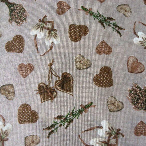 CORET, bézs levendula, szív mintás, spanyol lakástextil, dekorvászon