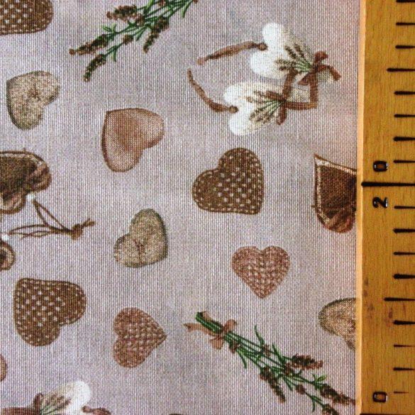 CORET, bézs levendula, szív mintás, spanyol lakástextil, dekorvászon, 280 és 140 cm széles