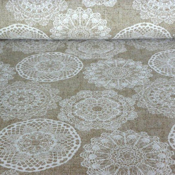 LENA, lenhatású csipkemintás spanyol lakástextil, dekorvászon