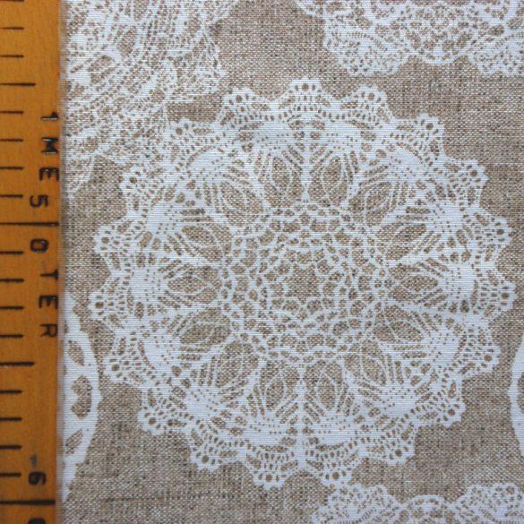 LENA, lenhatású csipkemintás spanyol lakástextil, dekorvászon, 280 és 140 cm széles