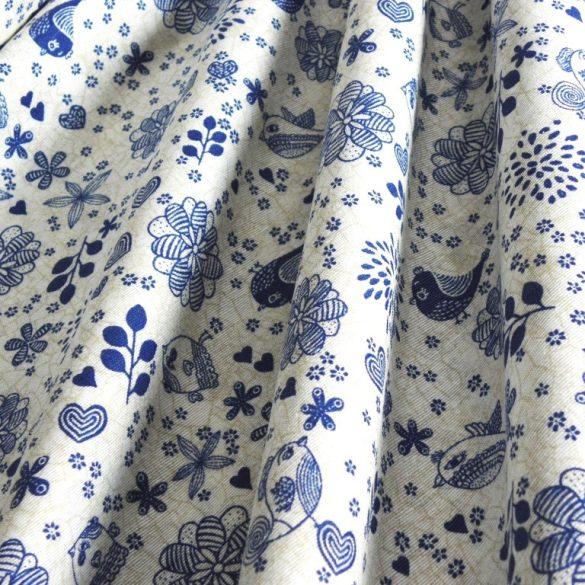 ORLANDO, virág, madárka mintás spanyol lakástextil, dekorvászon