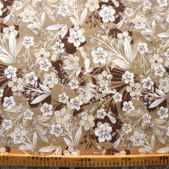 Pola barna-drapp leveles virágos lakástextil, dekorvászon