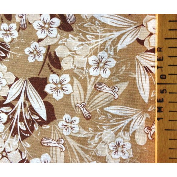 POLA barna-drapp leveles virágos lakástextil, dekorvászon, 280 cm és 140 cm széles