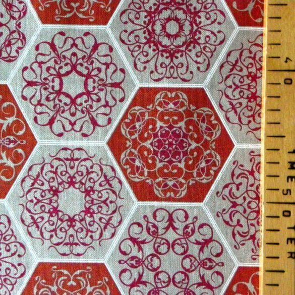RICHMOND, spanyol lakástextil, hatszög csipkemintás, bordó, 280 és 140 cm széles