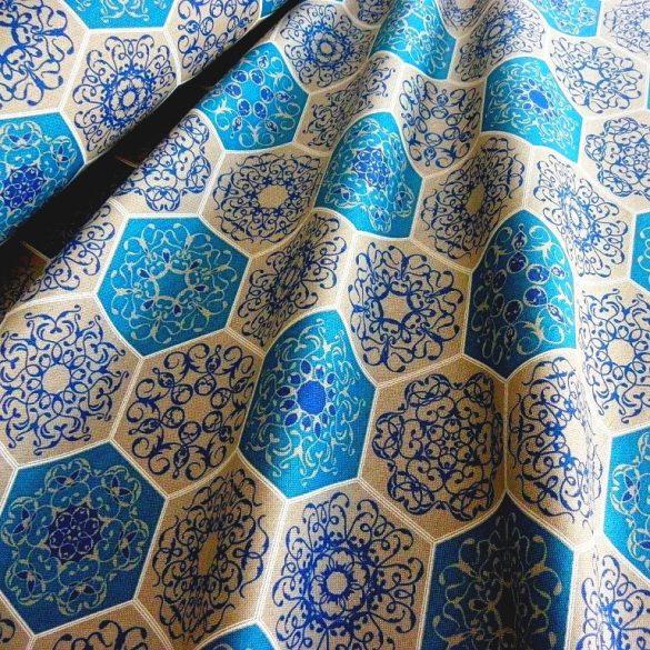 RICHMOND, spanyol lakástextil, hatszög csipkemintás, kék
