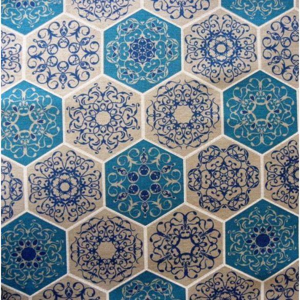 RICHMOND, spanyol lakástextil, hatszög csipkemintás, kék, 280 és 140 cm széles