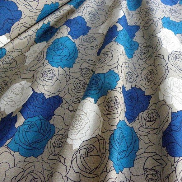 MADISON, spanyol lakástextil, rózsamintás, kék