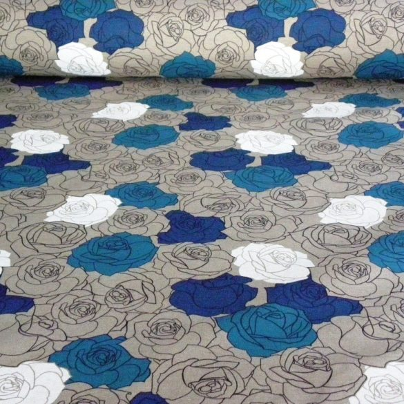 MADISON, spanyol lakástextil, rózsamintás, kék, 280 és 140 cm széles