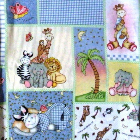 BAZOO, zebrás, állatos, kék mintás amerikai gyerektextil pamutvászon méteráru