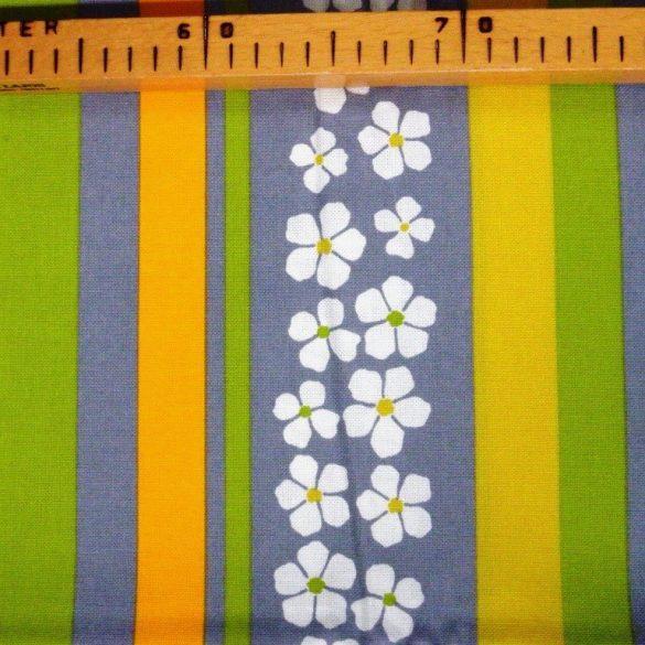 AGAVE, agavészürke csíkos, virágos, spanyol lakástextil, 280 cm széles