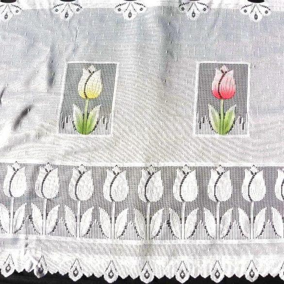 TULI, tulipán mintás, fehér vitrázs függöny, 50 cm magas
