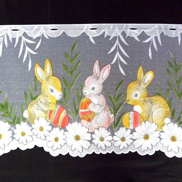 NYUSZIK, húsvéti mintás, vitrázs függöny anyag, 50 cm magas