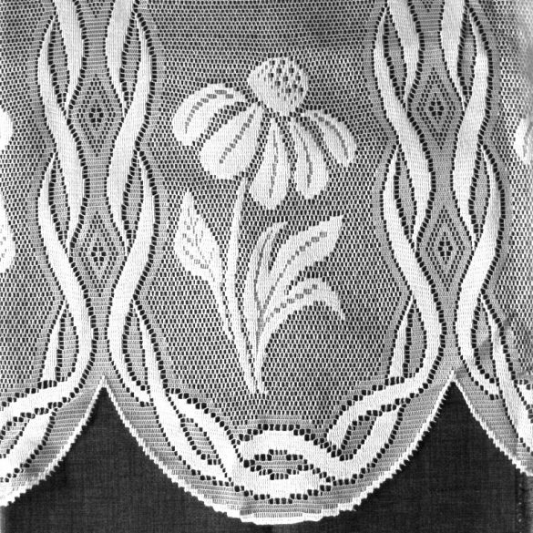 Vitrázs függöny, KAMILLA fehér virágos, 60 cm magas