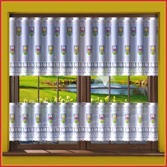 TULI, tulipán mintás, fehér vitrázs függöny, 70 cm magas