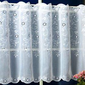 Batiszt és sablé hímzett vitrázsfüggöny anyagok
