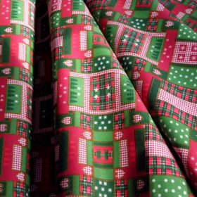 Karácsonyi mintás pamut-poliészter és poliészter vászon
