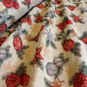 Karácsonyi mintás dekorvászon, loneta lakástextil