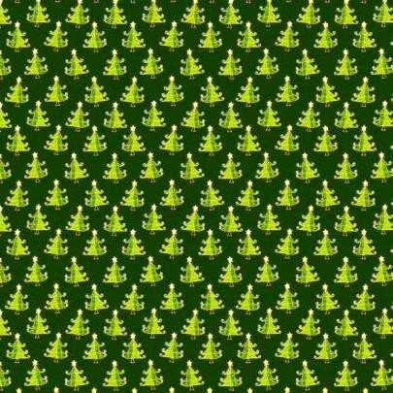 Image of ABIETE, kis fenyőfás zöld karácsonyi pamut-poliészter vászon anyag