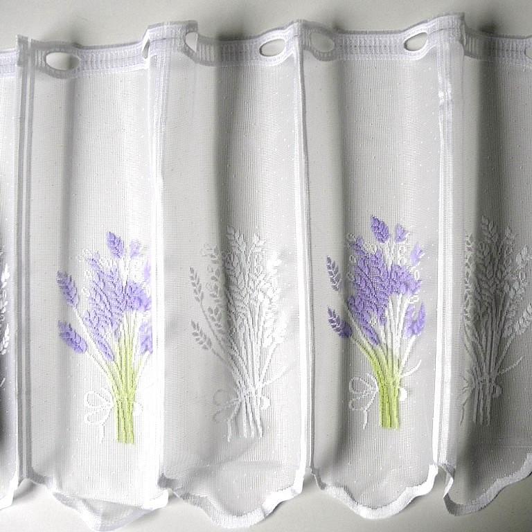 Fehér jacquard vitrázs függöny, levendula mintával - 45 cm