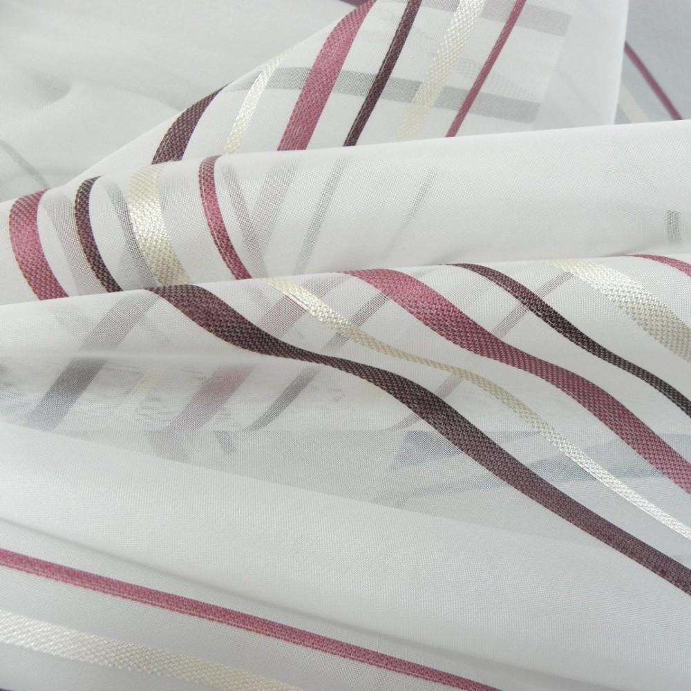 Fehér voile fényáteresztő függöny anyag, bordó-bézs csíkos